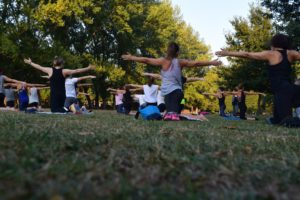 yoga class on the lawn
